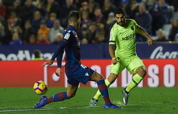 December 16, 2018 - Villarreal, Valencia, Spain - Rober Pier of Levante UD and Luis Suarez of FC Barcelona during the La Liga match between Levante UD and FC Barcelona at Ciutat de Valencia Stadium on December 16, 2018 in Valencia, Spain. (Credit Image: © Maria Jose Segovia/NurPhoto via ZUMA Press)