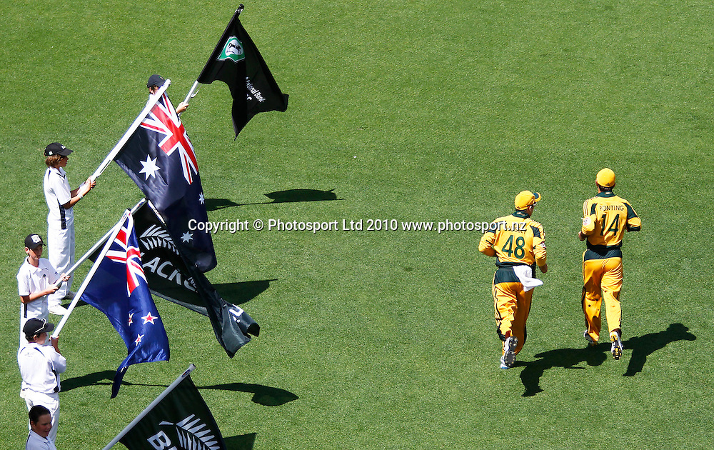 Australian captain Ricky Ponting and vice-captain Michael Hussey make their way onto eden Park. 4th one day international. New Zealand Black Caps versus Australia one day Chappell Hadlee cricket series. Eden Park, Auckland, New Zealand. Thursday 11 March 2010. Photo: Simon Watts/PHOTOSPORT