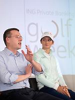 BADHOEVEDORP -  Jeroen Steven (directeur NGF) met golfprofessional Anne van Dam Van 20 t/m 22 mei zal op de International Golfcourse de ING Private Banking Golf Week voor het eerst gehouden worden.  COPYRIGHT KOEN SUYK