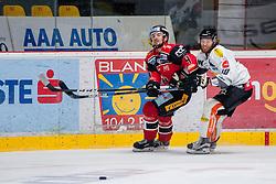 22.10.2016, Ice Rink, Znojmo, CZE, EBEL, HC Orli Znojmo vs Dornbirner Eishockey Club, 13. Runde, im Bild v.l. Michal Vodny (HC Orli Znojmo) Kevin Schmidt (Dornbirner) // during the Erste Bank Icehockey League 13th round match between HC Orli Znojmo and Dornbirner Eishockey Club at the Ice Rink in Znojmo, Czech Republic on 2016/10/22. EXPA Pictures © 2016, PhotoCredit: EXPA/ Rostislav Pfeffer