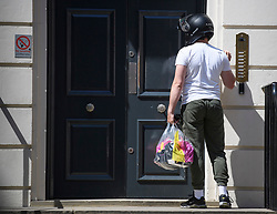 © Licensed to London News Pictures. 23/07/2019. London, UK. A food delivery arrives at Conservative Party headquarters shortly before Boris Johnson arrives at the HQ. Today the Conservative Party Elected Boris Johnson as their new leader and Prime Minister, following Theresa May's announcement that she will step down. Photo credit: Ben Cawthra/LNP