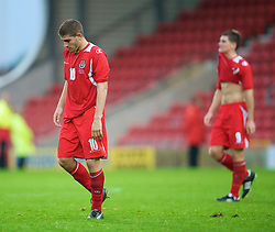 WREXHAM, WALES - Wednesday, August 20, 2008: Wales' Ched Evans looks dejected after his side's 1-0 defeat against Romania during the UEFA Under 21 European Championship Qualifying Group 10 match at the Racecourse Ground. (Photo by David Rawcliffe/Propaganda)