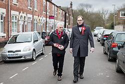 © Licensed to London News Pictures . 19/02/2017. Stoke-on-Trent, UK. Labour Shadow Chancellor JOHN MCDONNELL and GARETH SNELL canvassing in the Cliffe Vale district of Stoke . John McDonnell joins Gareth Snell - the party's candidate for the seat of Stoke-on-Trent Central , in the by-election campaign . Photo credit: Joel Goodman/LNP