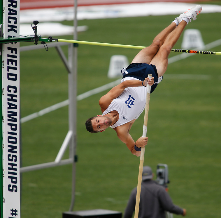 Rice's Scott Filip competes in the pole vault during the men's decathlon on the second day of the NCAA outdoors college track and field championships in Eugene, Ore., Thursday, June 8, 2017. (AP Photo/Timothy J. Gonzalez)