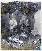 severely eroding glass plate with two little children and adults