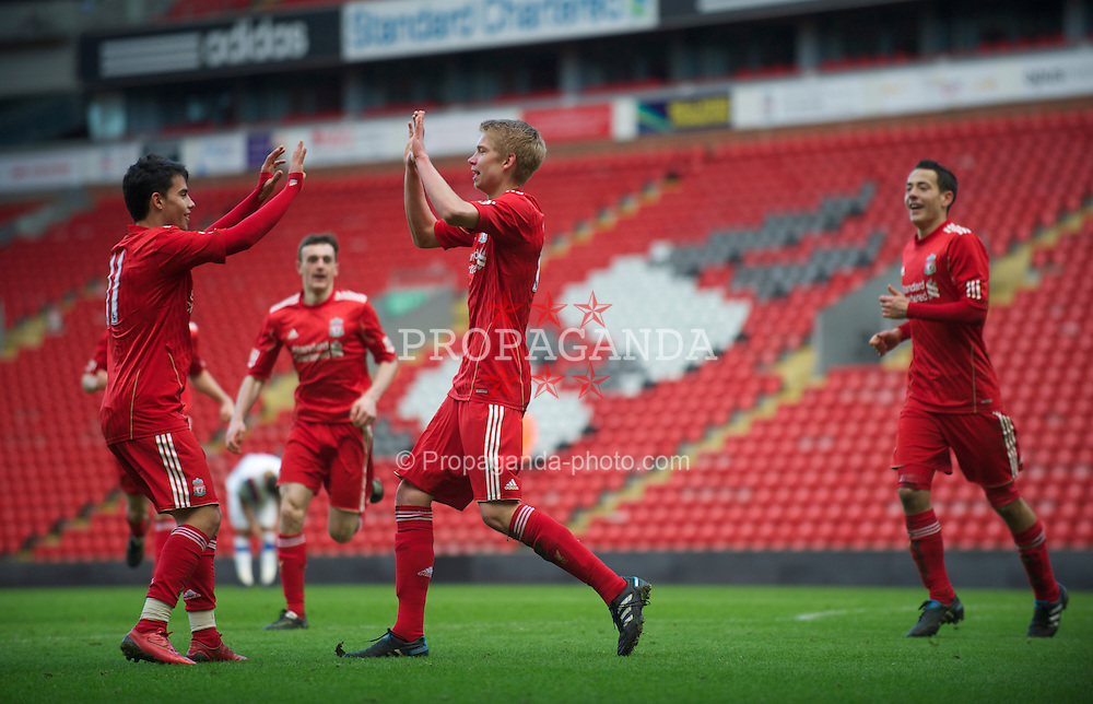 LIVERPOOL, ENGLAND - Saturday, January 8, 2011: Liverpool's Kristjan Emilsson celebrates scoring the equalising goal against Crystal Palace during the FA Youth Cup 4th Round match at Anfield. (Pic by: David Rawcliffe/Propaganda)