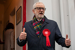 © Licensed to London News Pictures. 12/12/2019. London, UK. Jeremy Corbyn Leader of the Labour Party arrives at a Labour supporter's house in Islington after voting in the election in Islington as the Country decides on a new political party and Prime Minister. Photo credit: Alex Lentati/LNP