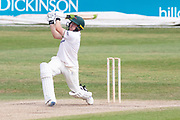 Harry Dearden hits a 6 into the hotel during the Bob Willis Trophy match between Lancashire County Cricket Club and Leicestershire County Cricket Club at Blackfinch New Road, Worcester, United Kingdom on 4 August 2020.