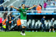 Beram Kayal (#7) of Brighton & Hove Albion celebrates victory following the Premier League match between Newcastle United and Brighton and Hove Albion at St. James's Park, Newcastle, England on 20 October 2018.