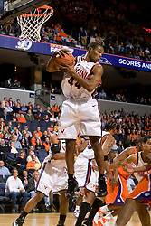 Virginia guard Sean Singletary (44) grabs a rebound against Clemson.  The Virginia Cavaliers men's basketball team hosted the Clemson Tigers at the John Paul Jones Arena in Charlottesville, VA on February 7, 2008.