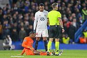 INJURY Lille goalkeeper Mike Maignan (16) during the Champions League match between Chelsea and Lille OSC at Stamford Bridge, London, England on 10 December 2019.