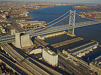 Aerial view of Ben Franklin Bridge over the Delaware River from Philadelphia to New Jersey