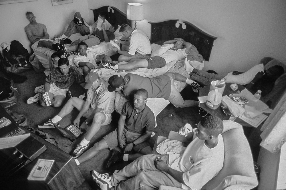 "SAYRE, PENNSYLVANIA 1995-- Members of the Vermont Expos, single A short season, minor -league baseball team, hang out in a ""get-away room"" in their hotel before heading to the baseball field.  ©  1995 Christopher J. Morris  All Rights Reserved  www.christophermorris.com"