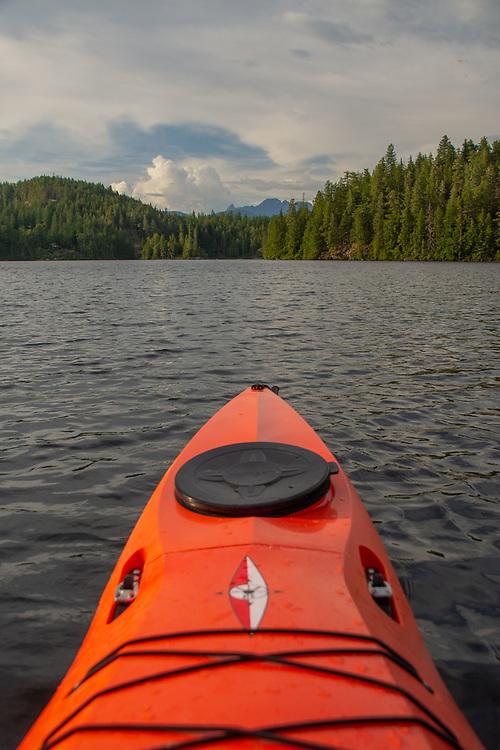 Kayaking on Waugh Lake, Sunshine Coast, British Columbia, Canada