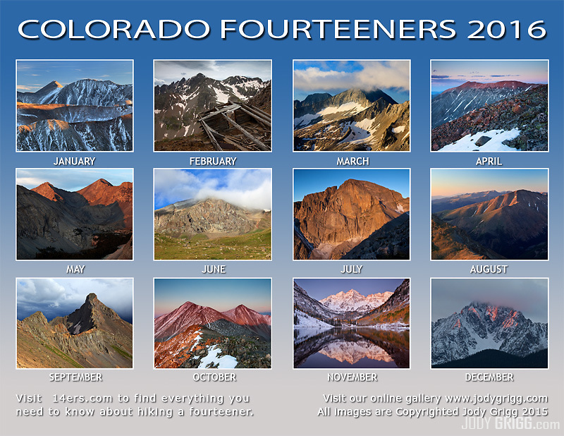 2016 Colorado Fourteeners Calendar back page