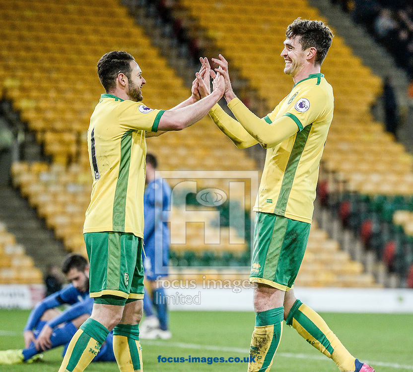 Kyle Lafferty celebrates his first goal for Norwich City U23 v Dinamo Zagreb U23 during the Premier League International Cup Quarter-Final match at Carrow Road, Norwich<br /> Picture by Matthew Usher/Focus Images Ltd +44 7902 242054<br /> 27/02/2017
