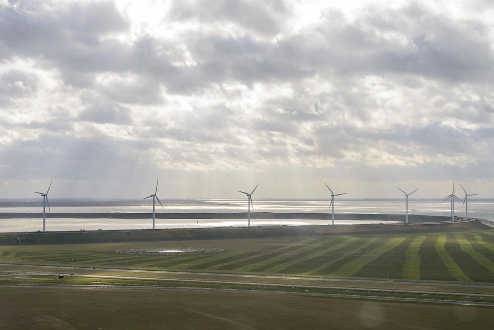 Nederland, Zuid-Holland, Rotterdam, 23-10-2013; zicht op De Slufter vanaf de Tweede Maasvlakte (MV2). Ingezaaid gras tegen het verstuiven.<br /> New Maasvlakte (MV2), new harbour area Port of Rotterdam, artificial land. <br /> luchtfoto (toeslag op standard tarieven);<br /> aerial photo (additional fee required);<br /> copyright foto/photo Siebe Swart