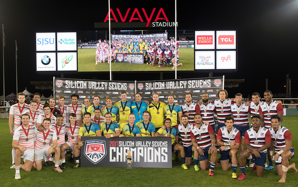 First place Australia pose with second place USA and third place England after they beat the United States 15-12 in the final of the Silicon Valley Sevens in San Jose, California. November 4, 2017. <br /> <br /> By Jack Megaw.<br /> <br /> <br /> <br /> www.jackmegaw.com<br /> <br /> jack@jackmegaw.com<br /> @jackmegawphoto<br /> [US] +1 610.764.3094<br /> [UK] +44 07481 764811