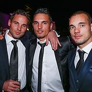 NLD/Bunnik/20121210 - Finale Miss Nederland 2012, Wesley Sneijder met zijn broers Jeffrey en Rodney
