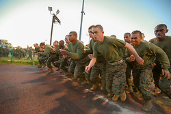 March 20, 2019 - Parris Island, South Carolina, U.S. - Marine Corps recruits prepare for a combat fitness test at Marine Corps Recruit Depot Parris Island, S.C., March 20, 2019. (Credit Image: © US Marine Corps/ZUMA Wire/ZUMAPRESS.com)