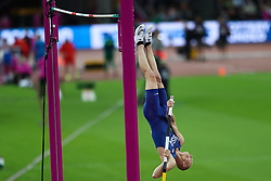 London, August 08 2017 . Sam Kendricks, USA, in the men's pole-vault final on day five of the IAAF London 2017 world Championships at the London Stadium. © Paul Davey.