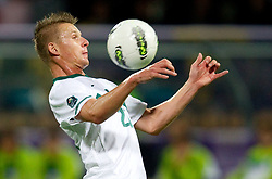 Dare Vrsic of Slovenia during football match between National Teams of Slovenia and Serbia of UEFA Euro 2012 Qualifying Round in Group C on October 11, 2011, in Stadium Ljudski vrt, Maribor, Slovenia.  Slovenia defeated Serbia 1-0. (Photo by Vid Ponikvar / Sportida)
