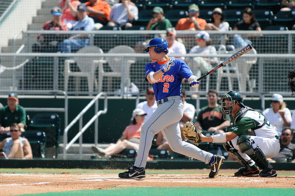 March 2, 2008 - Coral Gables, FL<br /> <br /> Josh Adams #2 of the Florida Gators in action during their 6-2 victory over the Miami Hurricanes at Alex Rodriguez Park in Coral Gables, Florida.<br /> <br /> JC Ridley/CSM