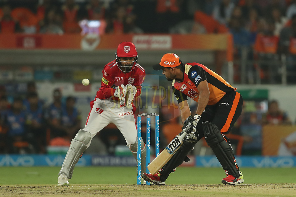 Yusuf Pathan of the Sunrisers Hyderabad during match twenty five of the Vivo Indian Premier League 2018 (IPL 2018) between the Sunrisers Hyderabad and the Kings XI Punjab  held at the Rajiv Gandhi International Cricket Stadium in Hyderabad on the 26th April 2018.<br /> <br /> Photo by: Ron Gaunt /SPORTZPICS for BCCI