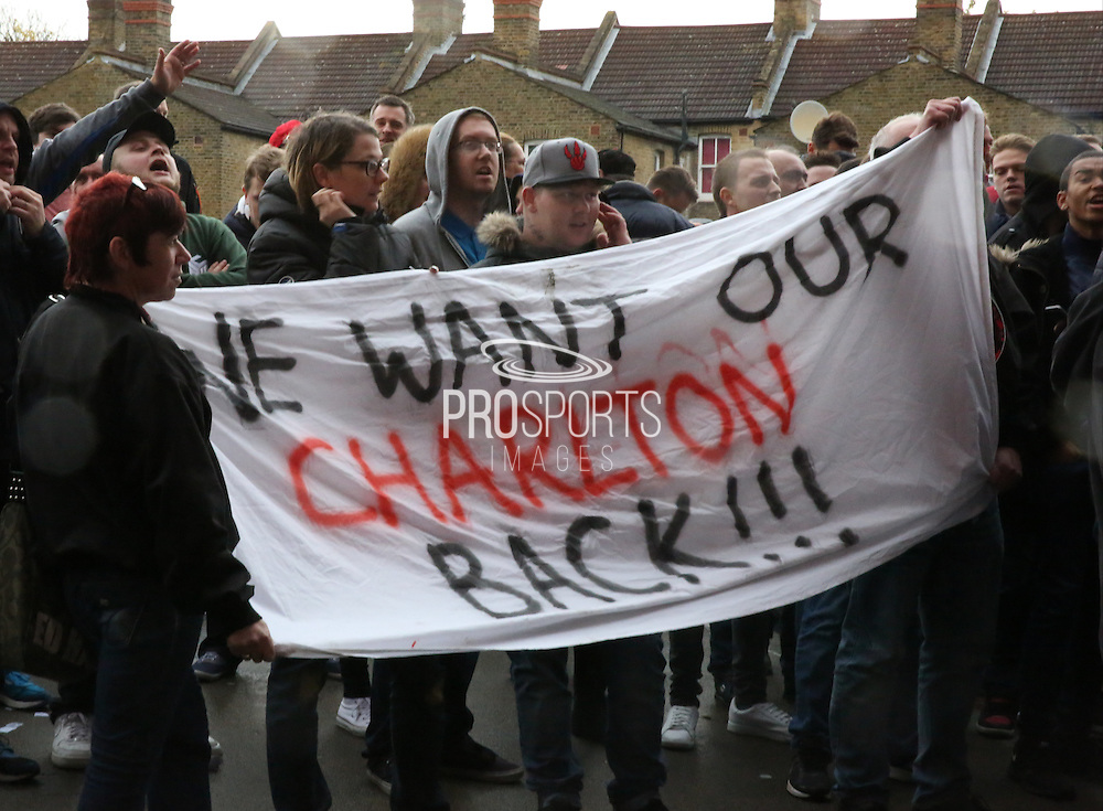 Charlton fans protesting during the Sky Bet Championship match between Charlton Athletic and Sheffield Wednesday at The Valley, London, England on 7 November 2015. Photo by Matthew Redman.