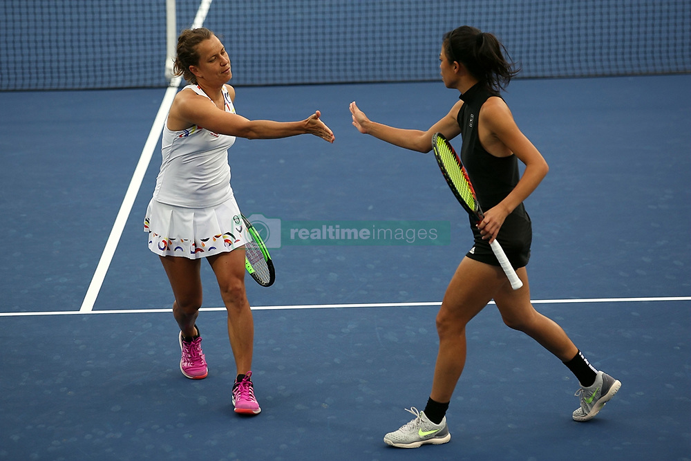 DUBAI, Feb. 24, 2019  Hsieh Su-wei (R) of Chinese Taipei and Barbora Strycova of the Czech Republic react during the women's doubles final match against Ekaterina Makarova of RussiaLucie Hradecka of the Czech Republic at Dubai Duty Free Tennis WTA Championships 2019 in Dubai, the United Arab Emirates, Feb.23, 2019. Hsieh Su-wei and Barbora Strycova won 2-0 and claimed the title. (Credit Image: © Xinhua via ZUMA Wire)