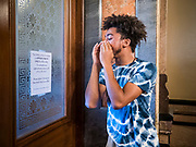 12 JUNE 2020 - DES MOINES, IOWA: CHARLES, (first name only) shouts at the door of the Governor's Reception Room in the Iowa capitol. About 75 activists from Black Lives Matter came to the Iowa State Capitol in Des Moines Friday to talk to Iowa Governor Kim Reynolds. They've been trying to meet with Gov. Reynolds all week. She made time for them Friday and met with 5 representatives of the organization without any media in the room. They wanted to talk to her about police violence against African-Americans and racial disparities in Iowa's justice system. While the 5 met with the Governor, the remaining activists picketed the hall in front of her office and chanted.     PHOTO BY JACK KURTZ