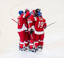 03.05.2013, Globe Arena, Stockholm, SWE, IIHF, Eishockey WM, Tschechische Republik vs Weissrussland, im Bild (CZE) cheers jubel // during the IIHF Icehockey World Championship Game between Czech Republic and Belarus at the Ericsson Globe, Stockholm, Sweden on 2013/05/03. EXPA Pictures © 2013, PhotoCredit: EXPA/ PicAgency Skycam/ Johan Andersson..***** ATTENTION - OUT OF SWE *****