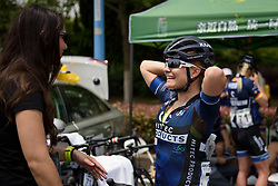 Emilie Moberg chats to team staff at Tour of Chongming Island - Stage 2. A 135.4km road race from Changxing Island to Chongming Island, China on 6th May 2017.