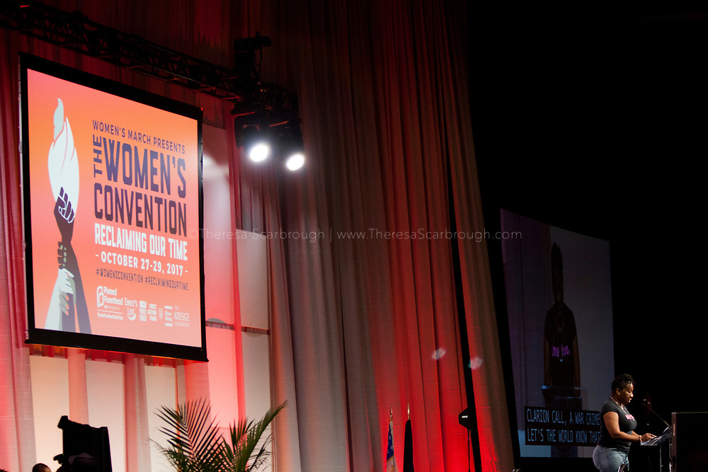 Tarana Burke, Founder of the hashtag #Metoo, speaks at the Women's Convention opening session at the Cobo Center, Detroit, Michigan, Friday, Otcober 27, 2017