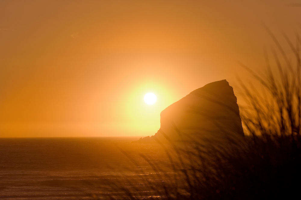 Haystack Rock at sunset; Pacific City, Oregon Coast.