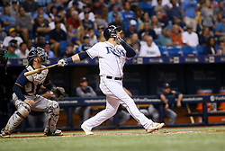 August 5, 2017 - St. Petersburg, Florida, U.S. - WILL VRAGOVIC       Times.Tampa Bay Rays first baseman Logan Morrison (7) flies out in the seventh inning of the game between the Milwaukee Brewers and the Tampa Bay Rays at Tropicana Field in St. Petersburg, Fla. on Saturday, August 5, 2017. (Credit Image: © Will Vragovic/Tampa Bay Times via ZUMA Wire)