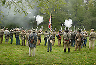 Montgomery, N.Y. - Confederate soldiers fire their weapons during a Civil War reenactment at the Orange County Farmers Museum on Sept. 23, 2006. The reenactment was hosted by the 124th New York State Volunteers, also known as the Orange Blossoms.