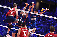 David Smith of USA, Drazen Luburic and Srecko Lisinac of Serbia.<br /> Torino 30-09-2018 Pala Alpitour <br /> FIVB Volleyball Men's World Championship <br /> Pallavolo Campionati del Mondo Uomini <br /> Finals / 3th place<br /> Serbia - USA  <br /> Foto Antonietta Baldassarre / Insidefoto