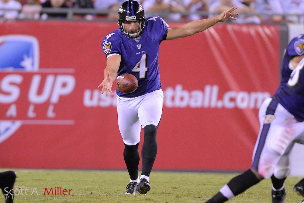 Baltimore Ravens punter Sam Koch (4) during a preseason NFL game at Raymond James Stadium on Aug. 8, 2013 in Tampa, Florida. <br /> <br /> &copy;2013 Scott A. Miller