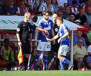 Jonathan Douglas coming on to face his old club and make his Ipswich debut during the Sky Bet Championship match between Brentford and Ipswich Town at Griffin Park, London, England on 8 August 2015. Photo by Matthew Redman.