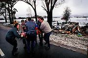 csz980729.001.004.jpg.   Ambulance, police, and SES remove a woman from the wreckage of a car on the Tylden-Trentham road after she crashed on roads made slippery by snow.  Picture by Craig Sillitoe. melbourne photographers, commercial photographers, industrial photographers, corporate photographer, architectural photographers, This photograph can be used for non commercial uses with attribution. Credit: Craig Sillitoe Photography / http://www.csillitoe.com<br />