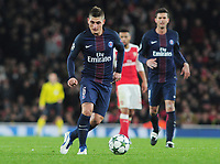 Football - 2016 / 2017 UEFA Champions League - Group A: Arsenal vs. Paris Saint-Germain<br /> <br /> Marco Verratti of PSG  at The Emirates.<br /> <br /> COLORSPORT/ANDREW COWIE