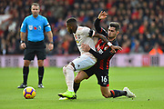 Fred (17) of Manchester United battles for possession with Lewis Cook (16) of AFC Bournemouth during the Premier League match between Bournemouth and Manchester United at the Vitality Stadium, Bournemouth, England on 3 November 2018.