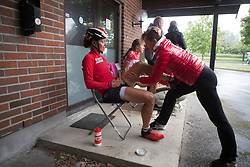 A \lotto gets a final leg rub before Stage 3 of the Ladies Tour of Norway - a 156.6 km road race, between Svinesund (SE) and Halden on August 20, 2017, in Ostfold, Norway. (Photo by Balint Hamvas/Velofocus.com)