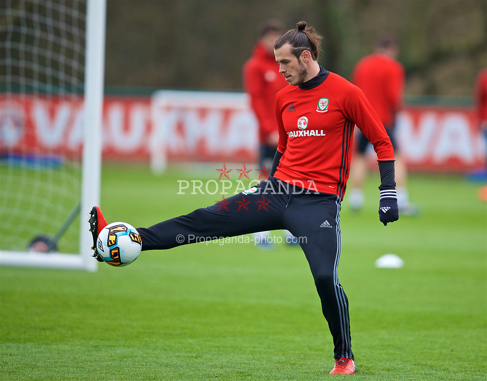 CARDIFF, WALES - Thursday, March 23, 2017: Wales' Gareth Bale during a training session at the Vale Resort ahead of the 2018 FIFA World Cup Qualifying Group D match against Republic of Ireland. (Pic by David Rawcliffe/Propaganda)