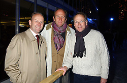 Left to right, brothers STEPHEN FLINT WOOD Worldwide Managing Director of IMG Arts & Entertainment, DAVID FLINT WOOD and FRED FLINT WOOD at the opening of the Natural History Museum's Ice Rink on 16th November 2005.<br />