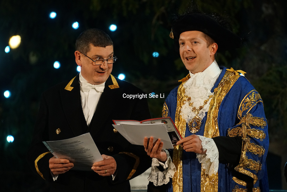 Councillor Steve Summers, Lord Mayor of Westminster attends The Christmas tree in Trafalgar Square is illuminated after the annual lights switch-on in London, December 1, 2016. The tree has been a gift since 1947 from the people of Norway in recognition of Britain's support during World War II, London,UK. Photo by See Li