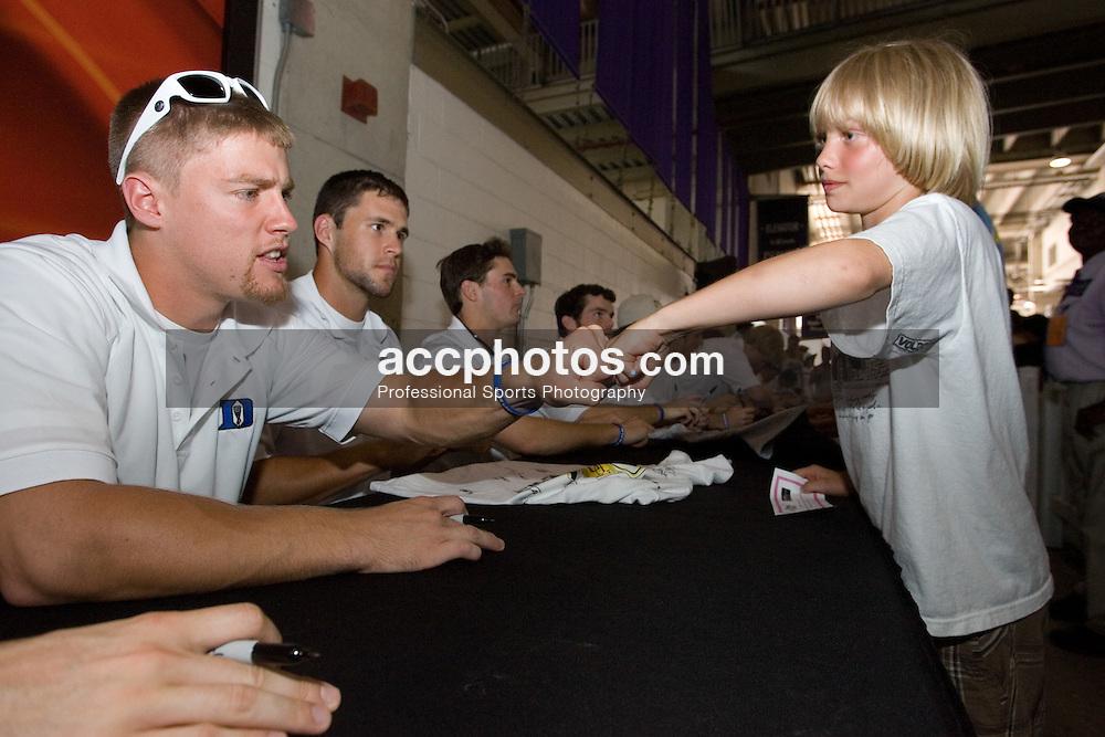 27 May 2007: Duke Blue Devils defenseman Nick O'Hara (77) signs autographs at M&T Bank Stadium in Baltimore, MD.