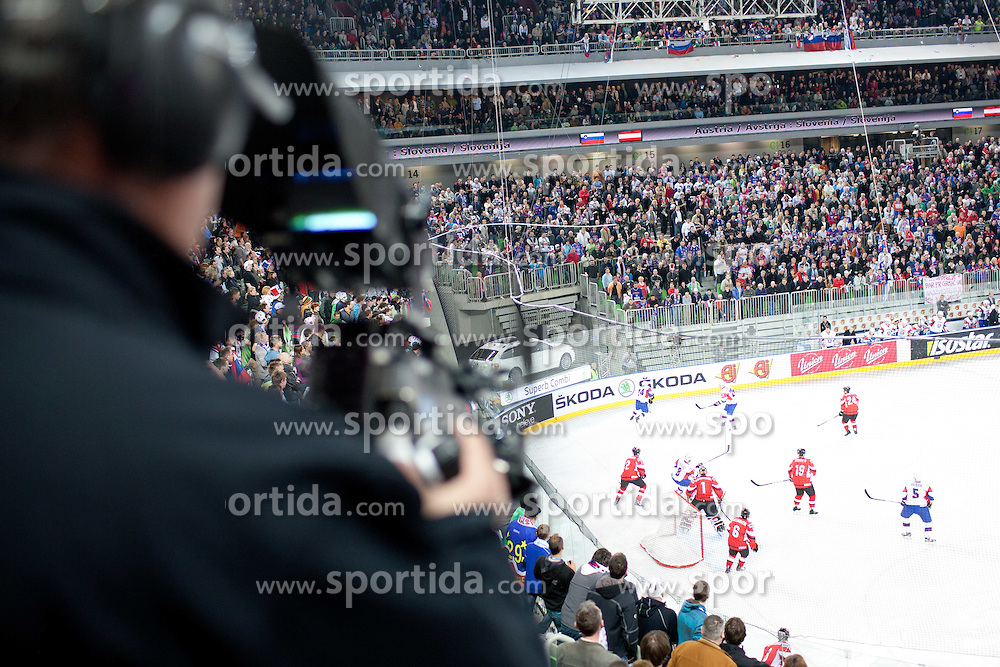 Cameraman during ice-hockey match between Austria and Slovenia at IIHF World Championship DIV. I Group A Slovenia 2012, on April 21, 2012 at SRC Stozice, Ljubljana, Slovenia. (Photo By Matic Klansek Velej / Sportida.com)