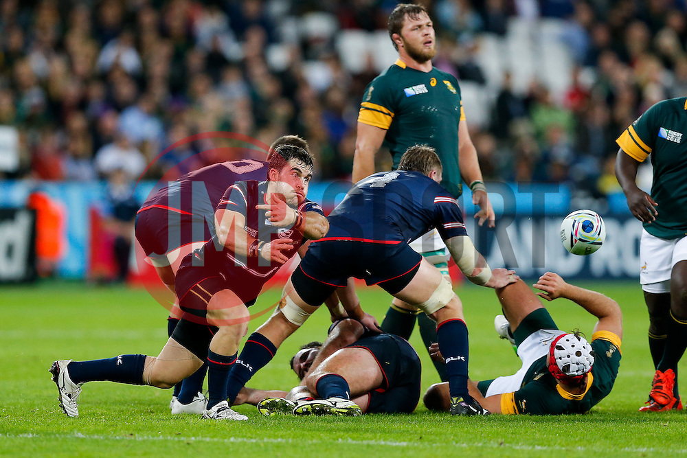 USA Scrum-Half Niku Kruger in action - Mandatory byline: Rogan Thomson/JMP - 07966 386802 - 07/10/2015 - RUGBY UNION - The Stadium, Queen Elizabeth Olympic Park - London, England - South Africa v USA - Rugby World Cup 2015 Pool B.